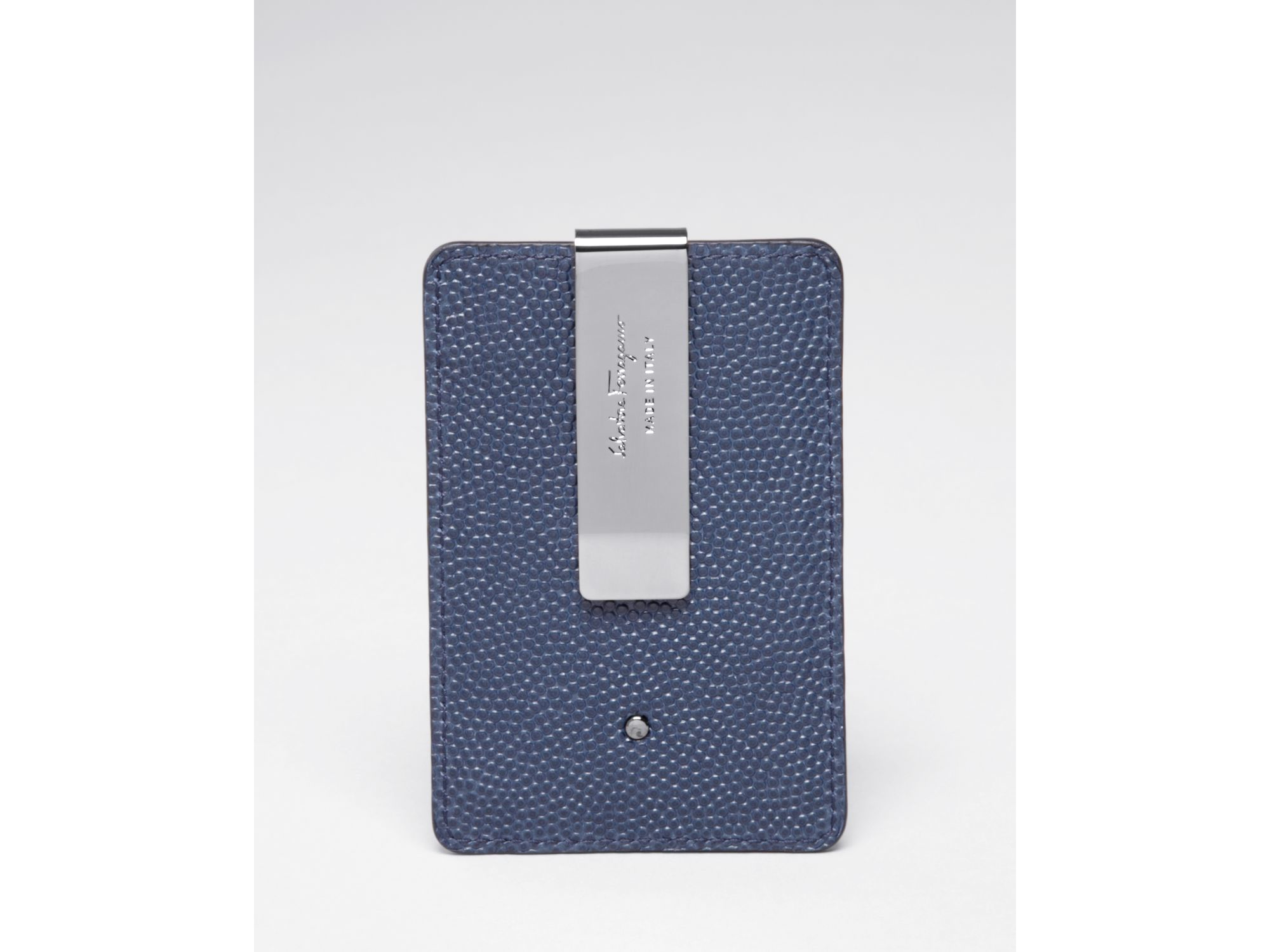 official photos c1a4a a46bf Ferragamo Blue Ten-forty On Pebbled Leather Money Clip Card Case for men