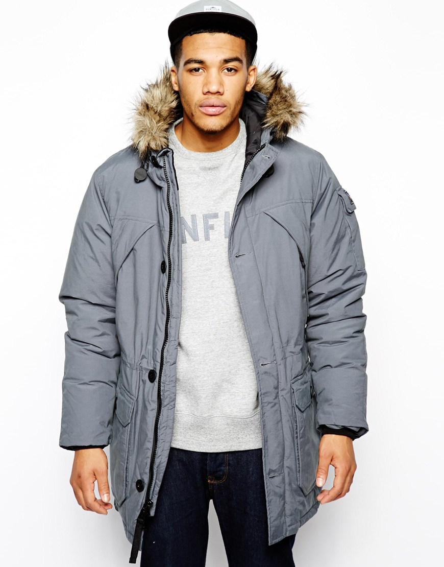 Penfield Hoosac Parka with Faux Fur Hood in Gray for Men | Lyst