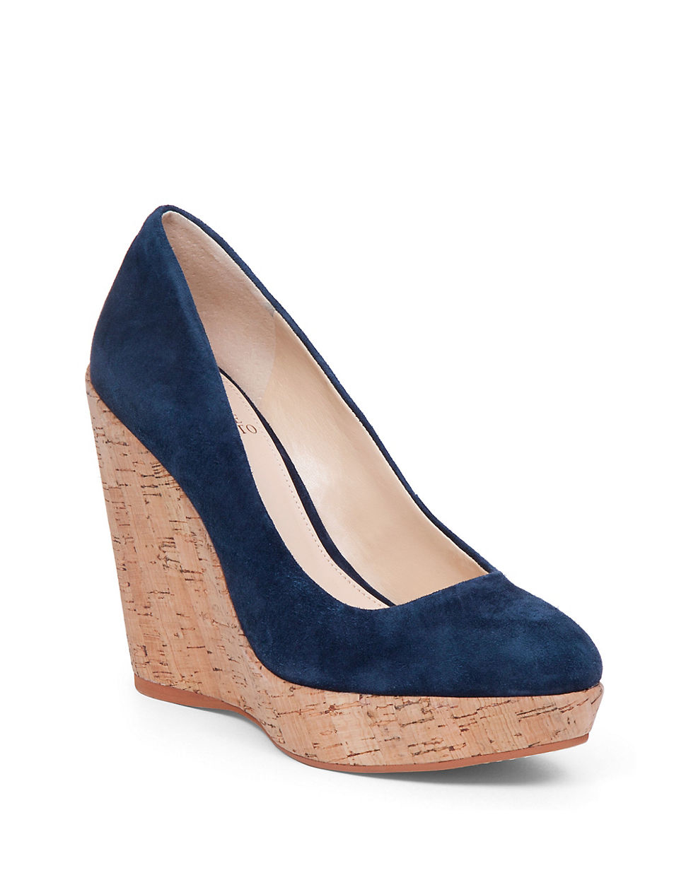 Vince Camuto Faran Suede Wedges In Blue Lyst