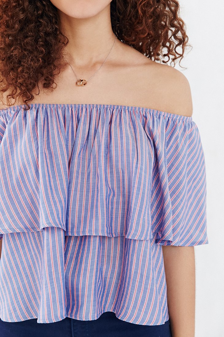 0c43aab38be26 Lyst - Kimchi Blue Striped Ruffle Off-the-shoulder Blouse in Blue