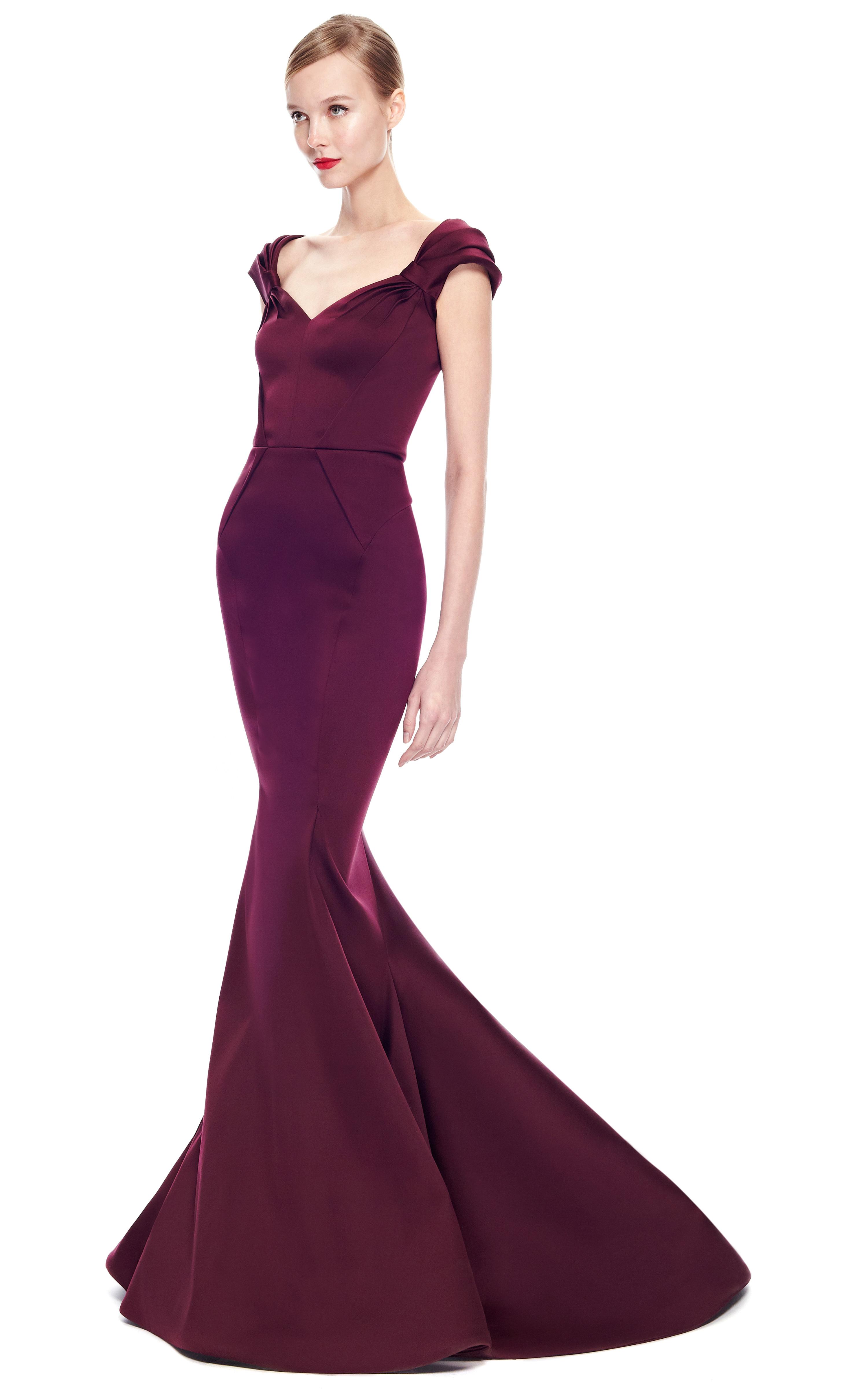 Lyst - Zac Posen Stretch Duchess Offtheshoulder Gown in Purple