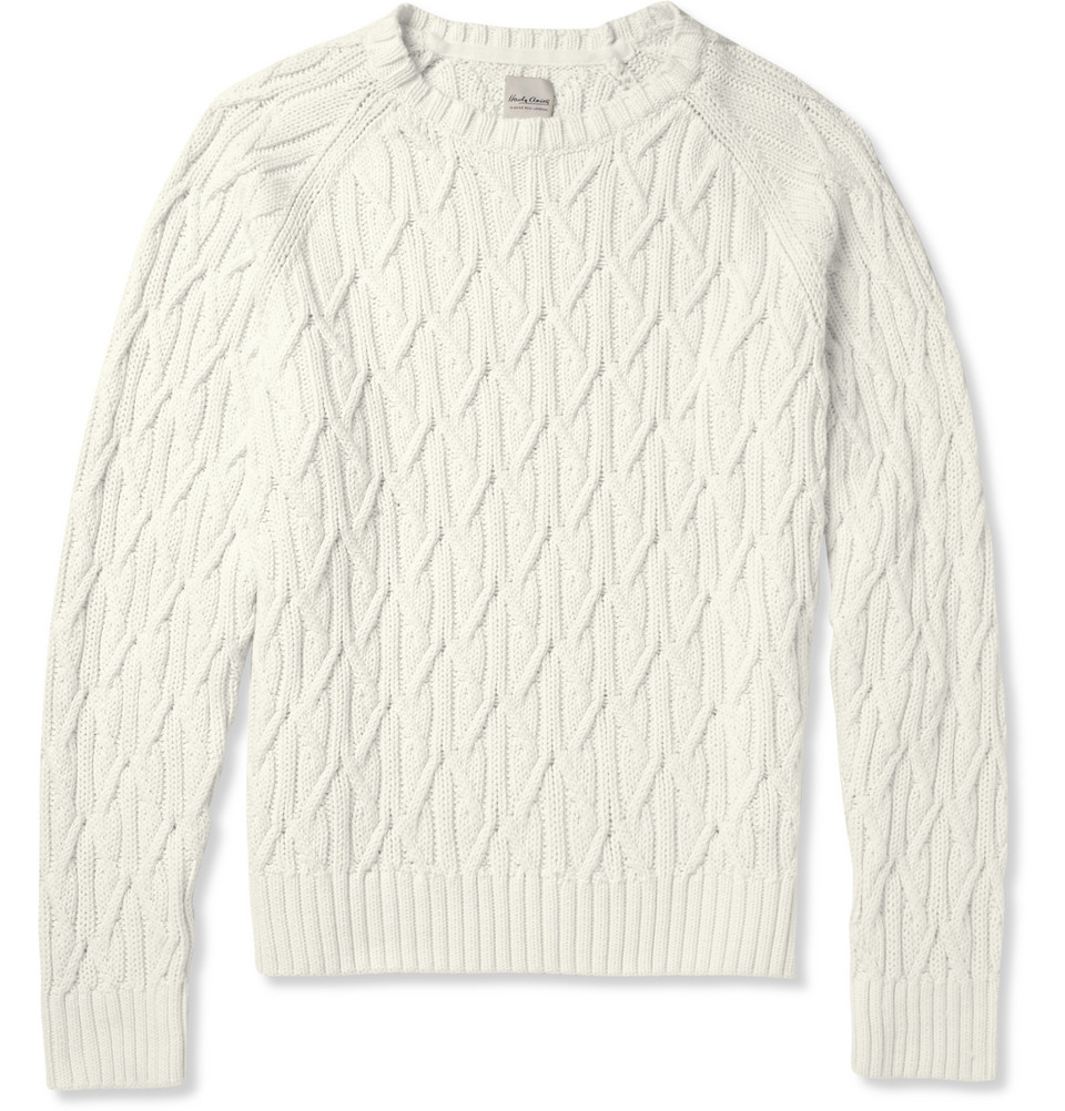 Hardy amies Cable Knit Cotton Sweater in White for Men | Lyst