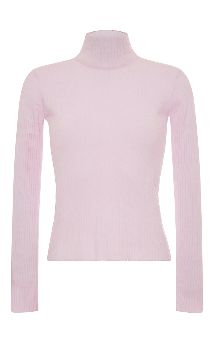 Carven Ribbed Turtleneck Knit in Pink | Lyst