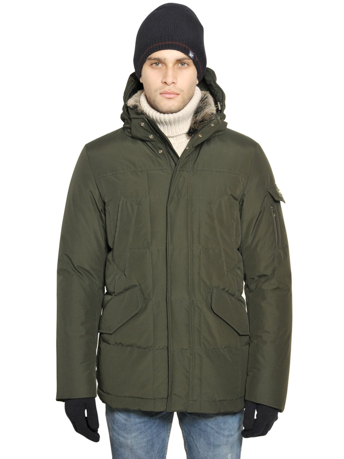 woolrich ramar cloth blizzard jacket in green for men forest green. Black Bedroom Furniture Sets. Home Design Ideas