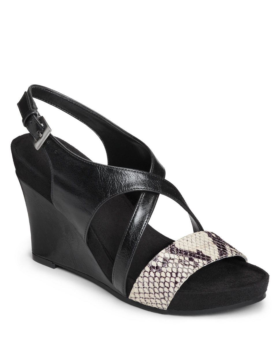 aerosoles plushed together faux leather wedge sandals in