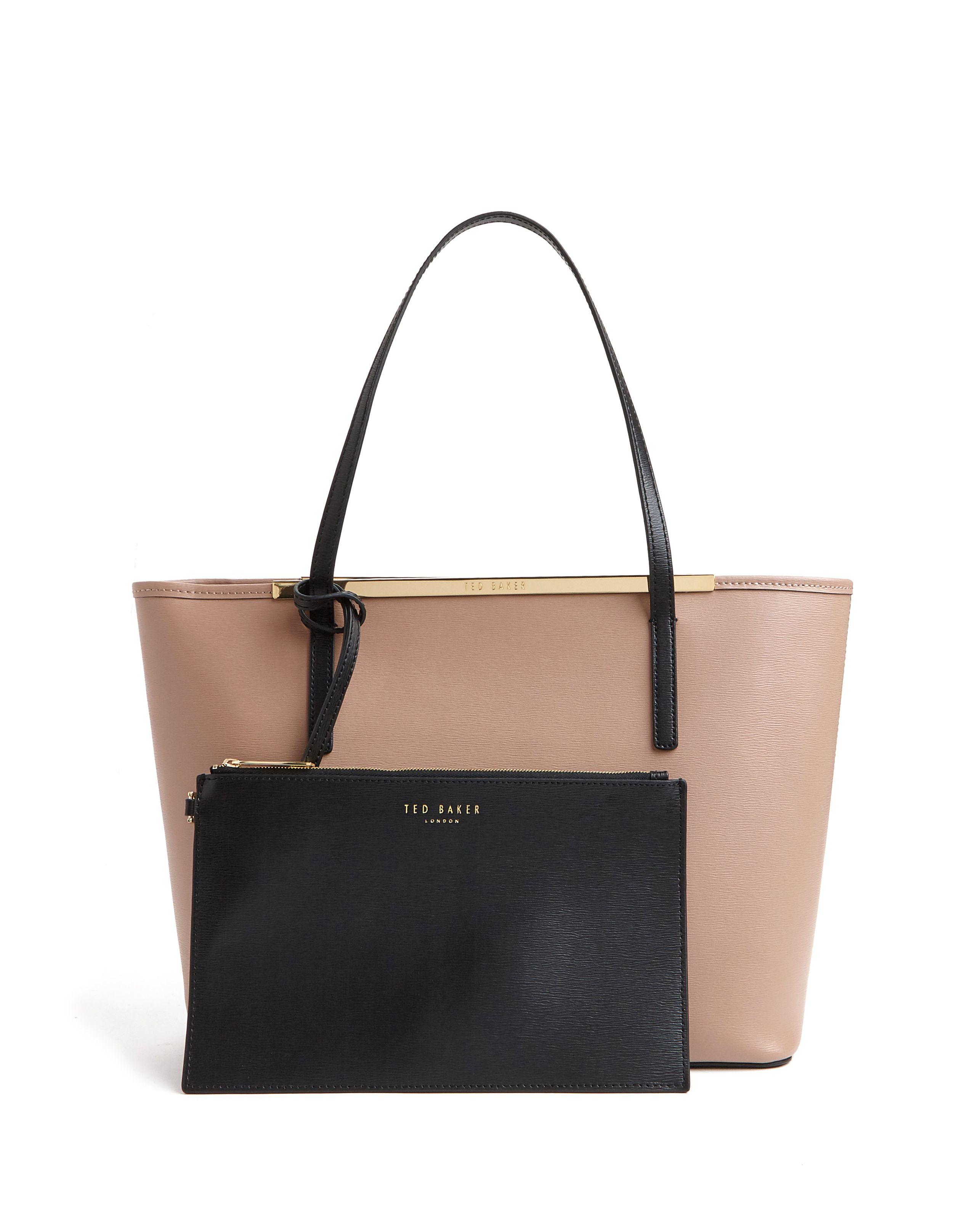 ted baker nicola colour block leather shopper bag in brown. Black Bedroom Furniture Sets. Home Design Ideas