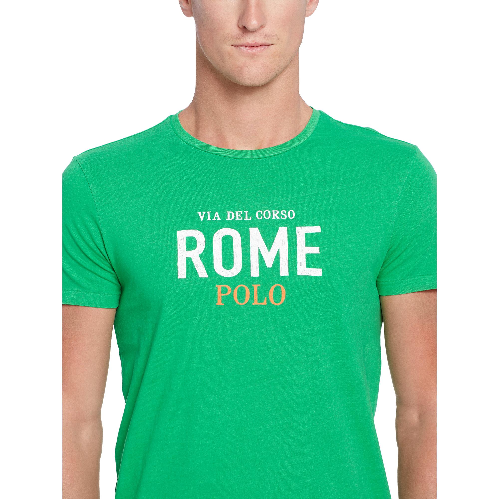 Polo ralph lauren custom fit graphic t shirt in green for for Polo custom fit t shirts