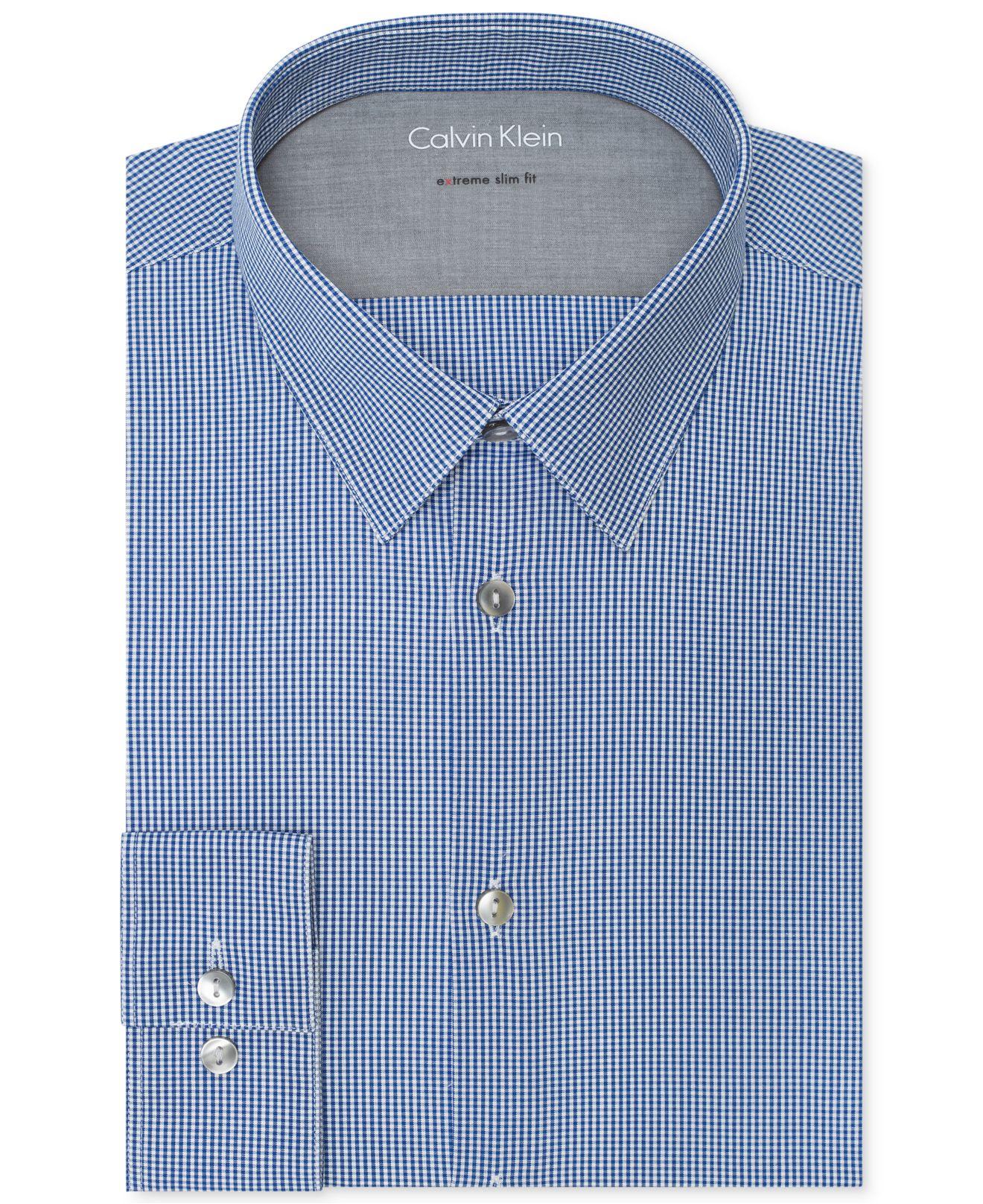 Calvin klein x extra slim fit gingham dress shirt in blue for Extra slim dress shirt