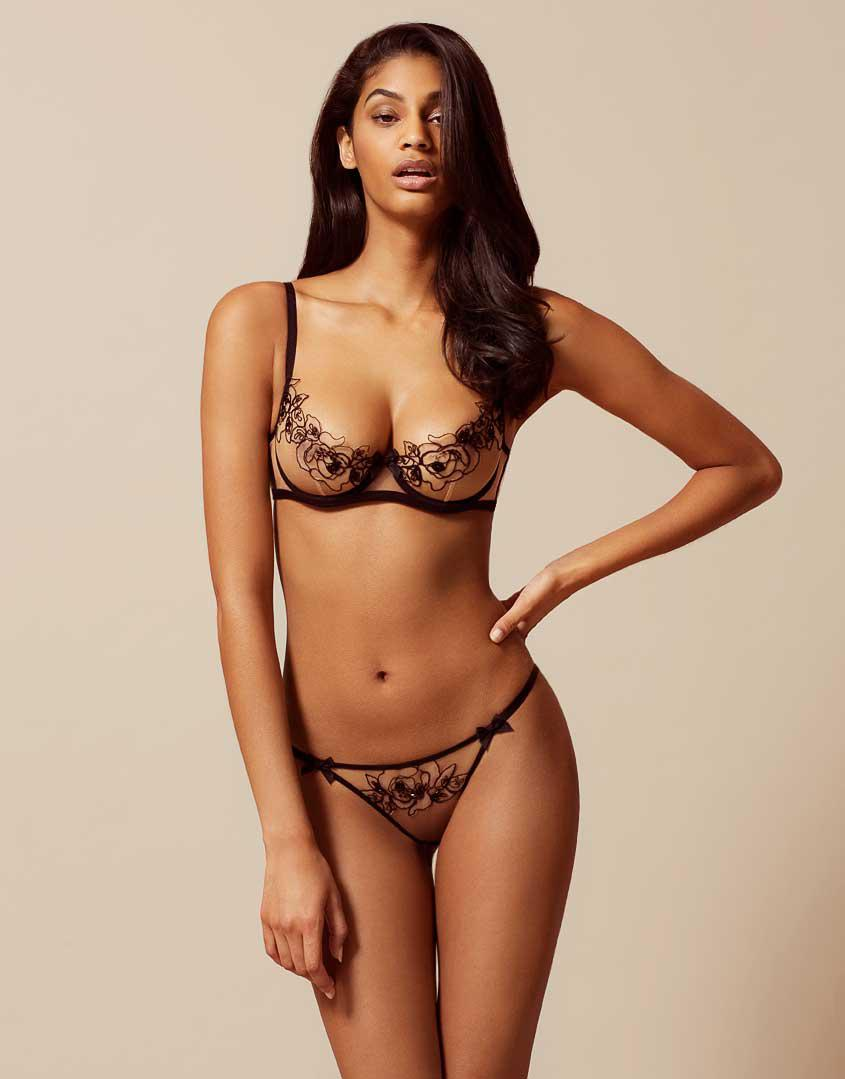 3eb45f9061 Agent Provocateur Lindie Thong Nude black in Black - Lyst