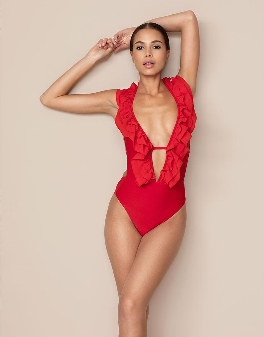 4b99883a4305e Agent Provocateur Bettina Swimsuit Red in Red - Lyst