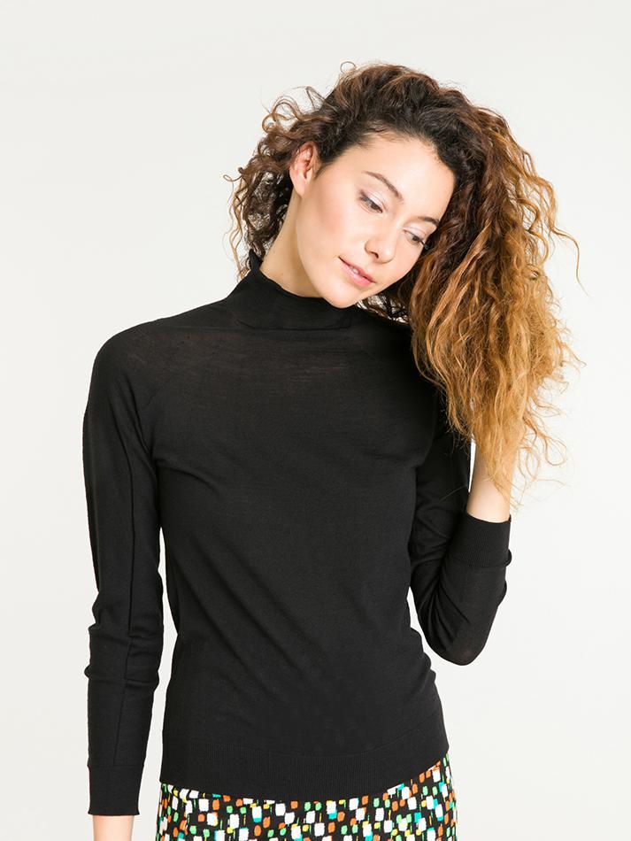 agnès b. Black Soft Merinos Wool Sweater Allure