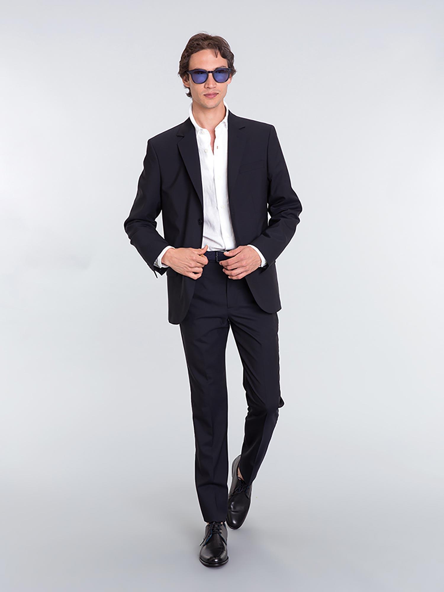 agnès b. Navy Blue Wool Domino Jacket for Men