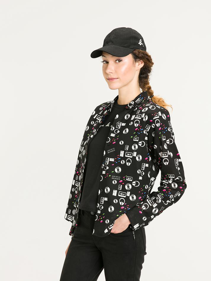 agnès b. Cotton Music Print Jasmine Shirt in Black