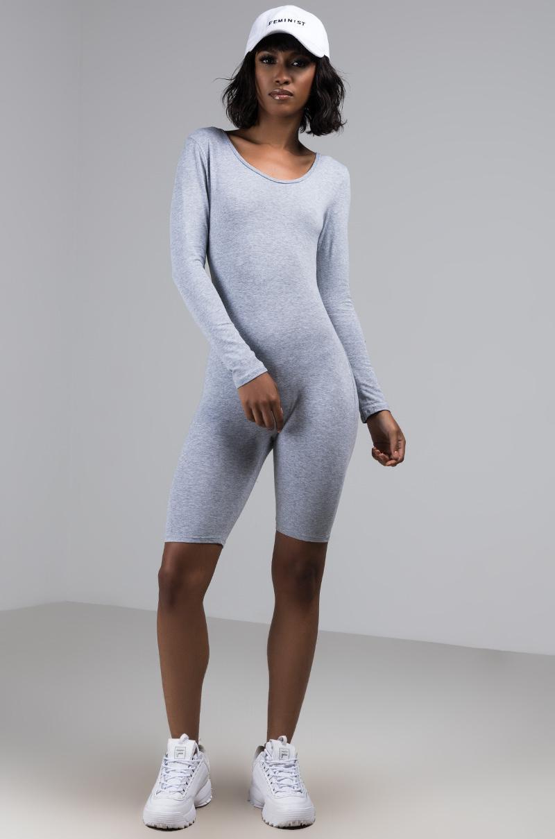 6d09c551556c Akira - Gray Dressed To Impress Long Sleeve Romper - Lyst. View fullscreen