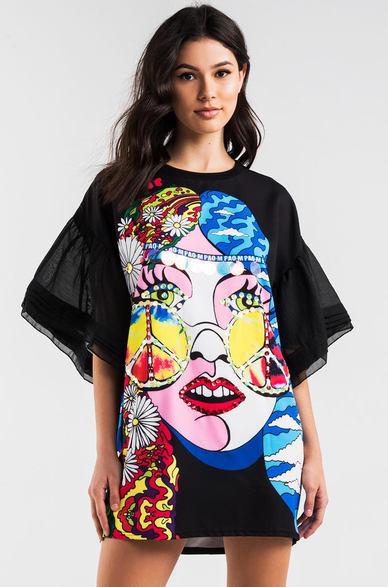 Akira Hippy Birthday Sequin Graphic T Shirt Dress In Black