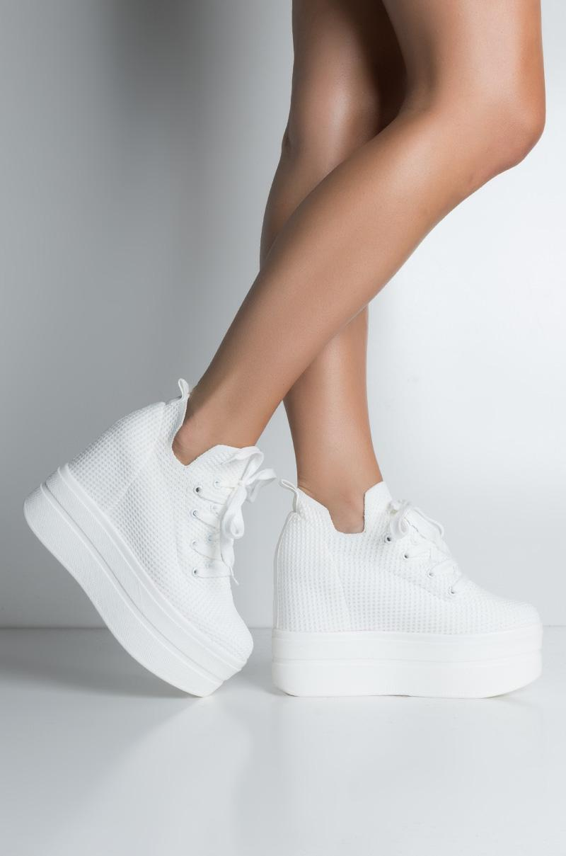 Adidas High Top Platform Sneakers in White AKIRA
