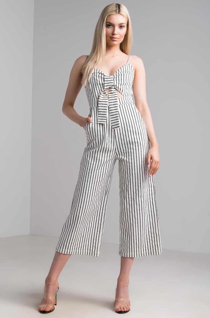 4b0ecbf386d Akira Trying To Tell You Striped Jumpsuit in White - Lyst