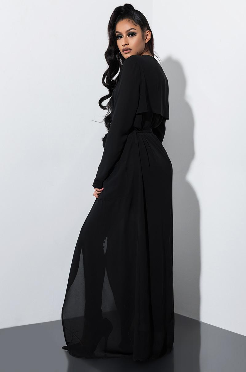 AKIRA Synthetic Dream Come True Open Front Trench in Black