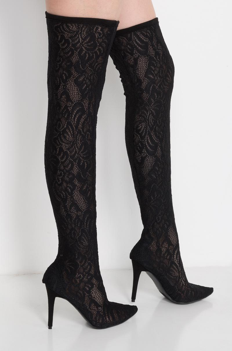 AKIRA Marie Antoinette Lace Over The Knee Boots in Black