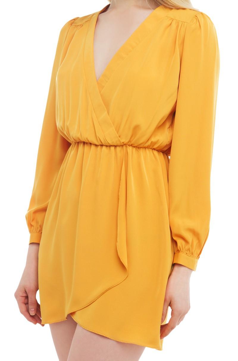 Lyst Akira Tulip Hem Mini Dress In Yellow
