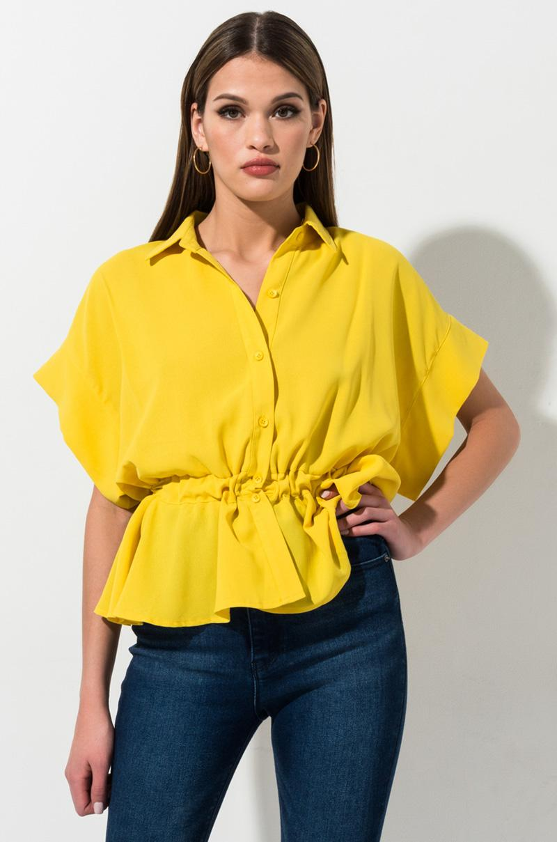 46dbe4e5 AKIRA Heart To Heart Button Down Blouse in Yellow - Lyst
