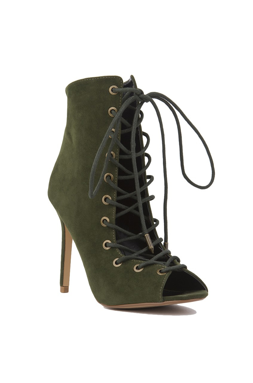 Akira Lace Up Peep Toe Ankle Bootie In Green Olive Suede