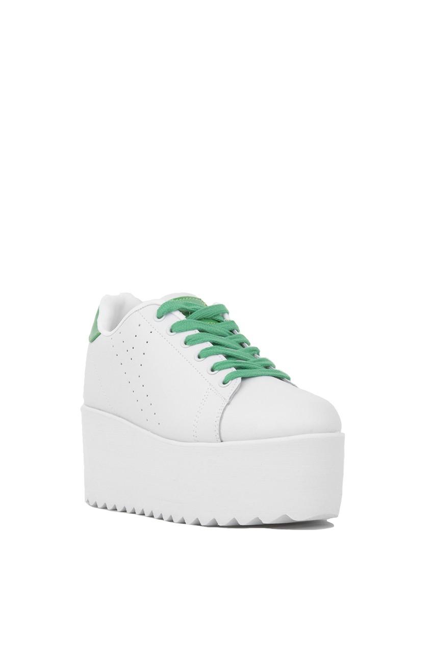 YRU Leather Lala Two Tone Platform Sneaker - White/green