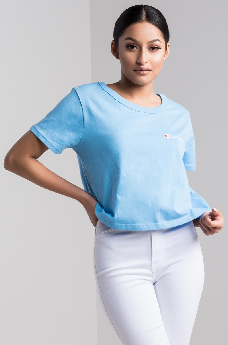 c102eedeb Champion Womens Cropped Tee Chest in Blue - Lyst