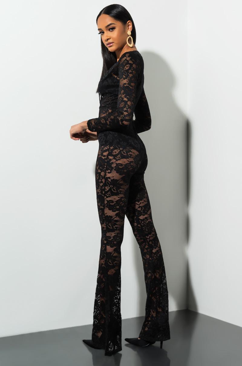 f2eba5578a6 Lyst - AKIRA Midst Of It All Lace Jumpsuit in Black