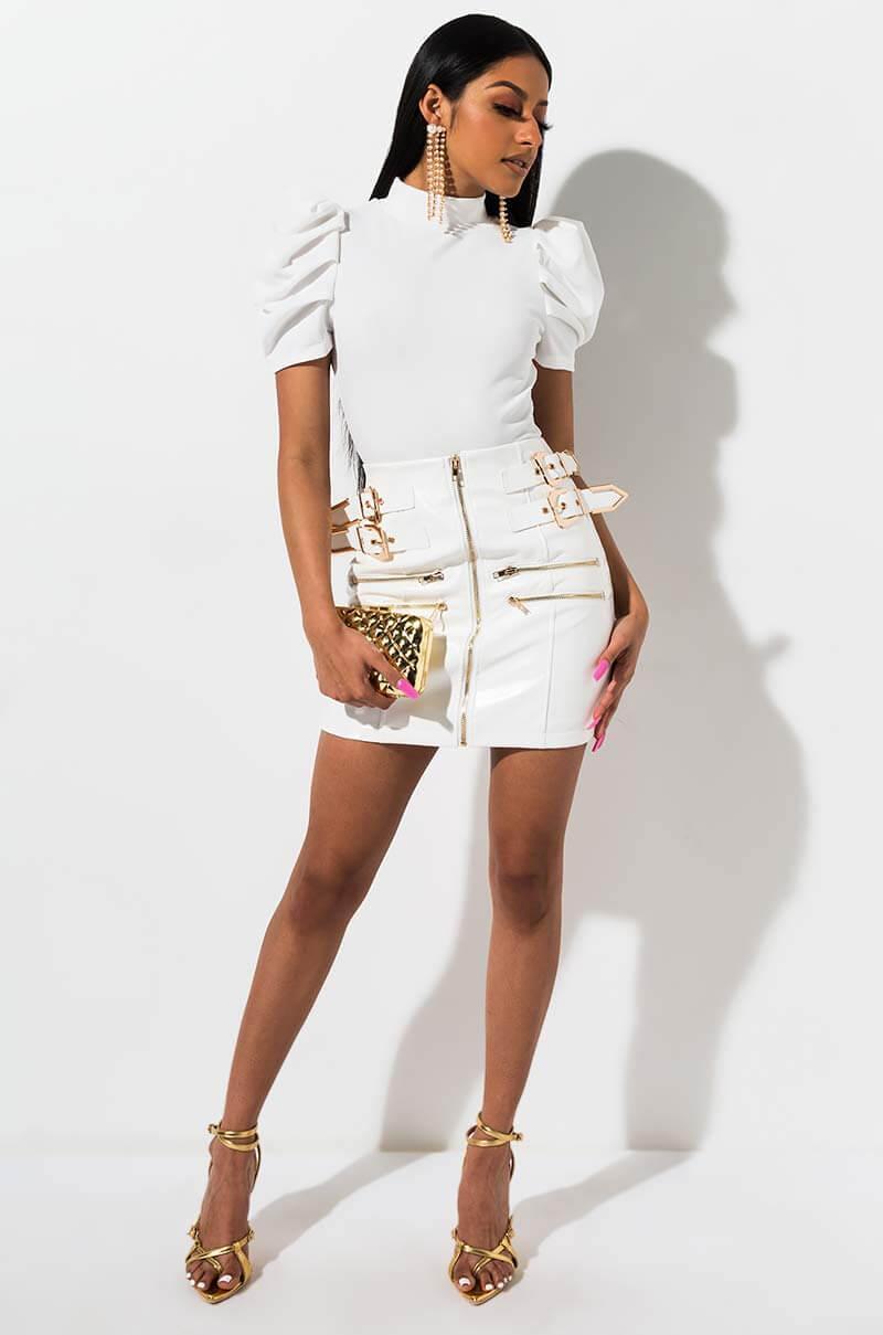 d5471aac6 AKIRA Better Off Pleather Mini Skirt in White - Lyst