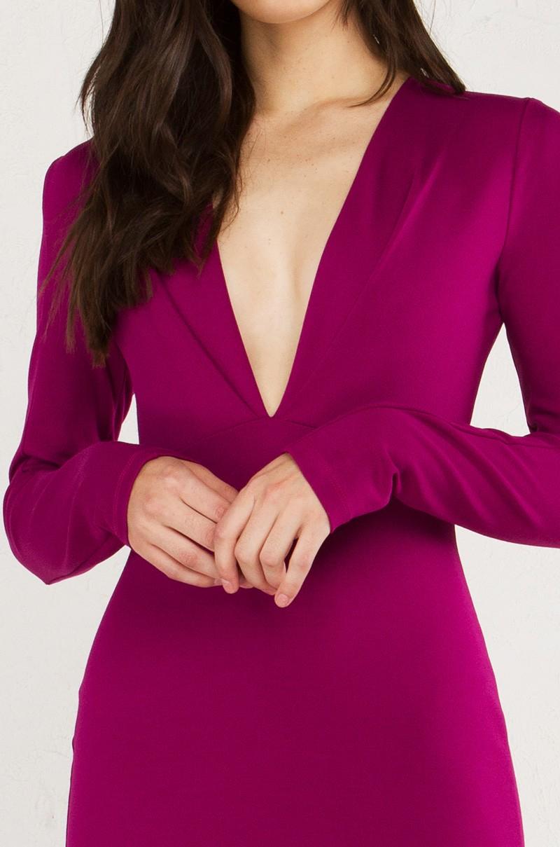 Lyst akira her own deep v long sleeve midi dress in black for Adam lippes women s long sleeve vee t shirt