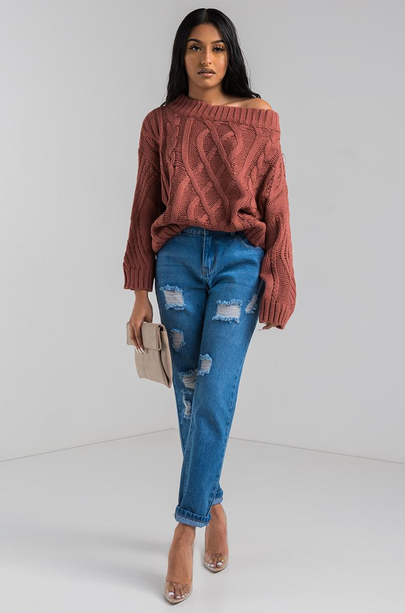 AKIRA Denim Rarefied Off Shoulder Cable Knit Sweater in Red