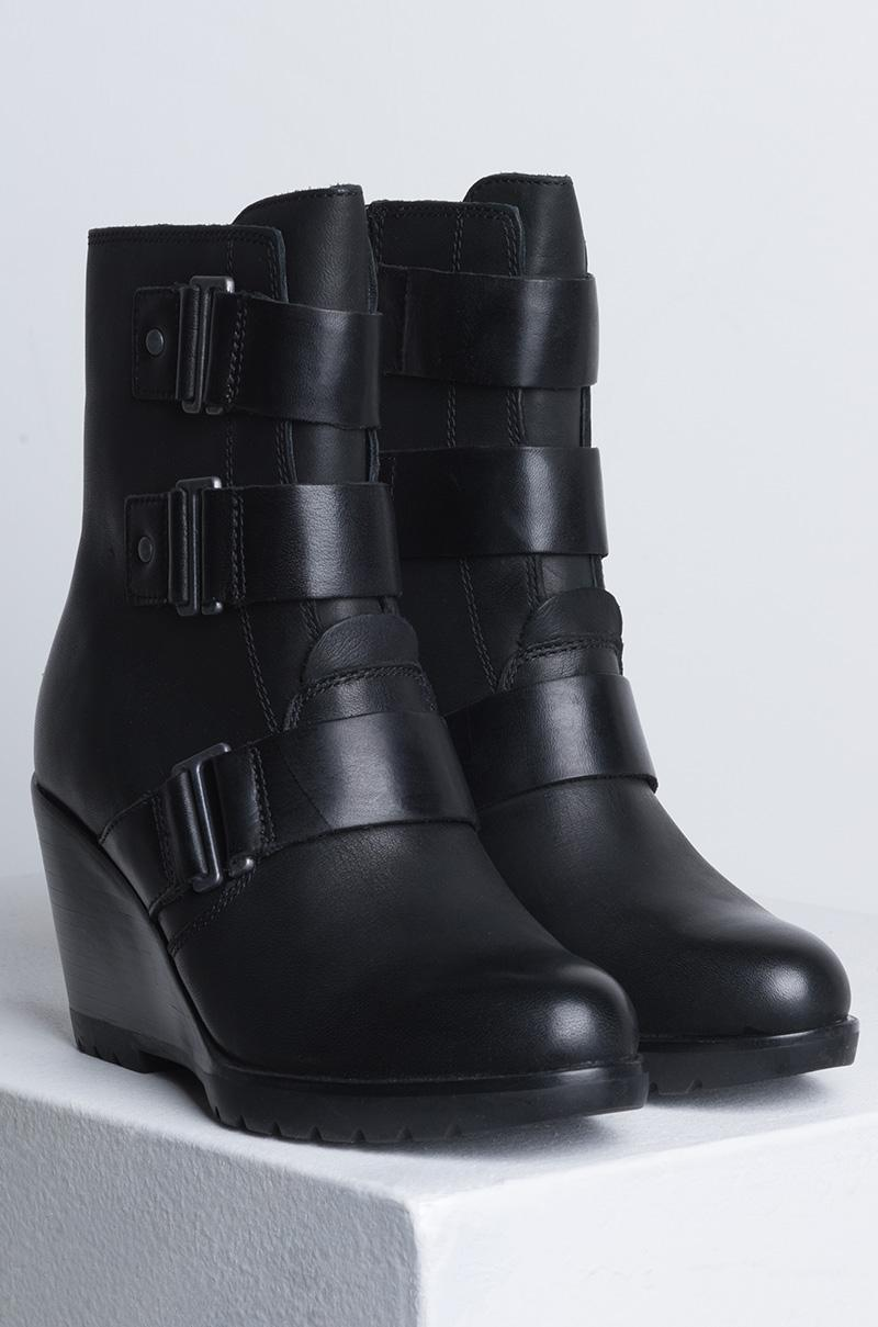 Sorel After Hours Waterproof Leather Wedge Bootie in Black