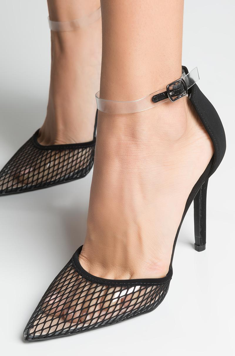 861d03db189 Akira Black Catch A Good One Fishnet Pointed Toe Heels