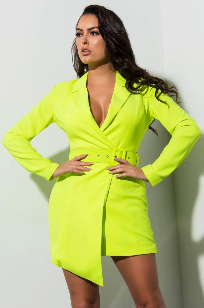 c3f69426c0b0 ... Yellow Stargazed Neon Blazer Dress - Lyst. Visit AKIRA. Tap to visit  site