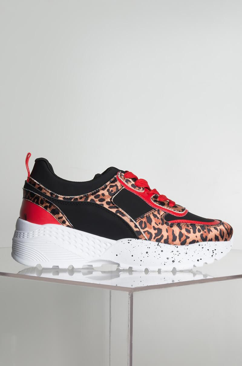 85fbf587c3cb Akira - Red Funday Animal Print Sneakers - Lyst. View fullscreen