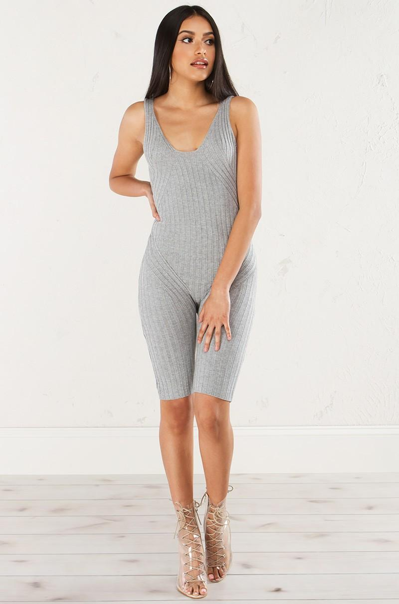 d60fc4fff848 AKIRA The One To Blame Ribbed Romper in Gray - Lyst