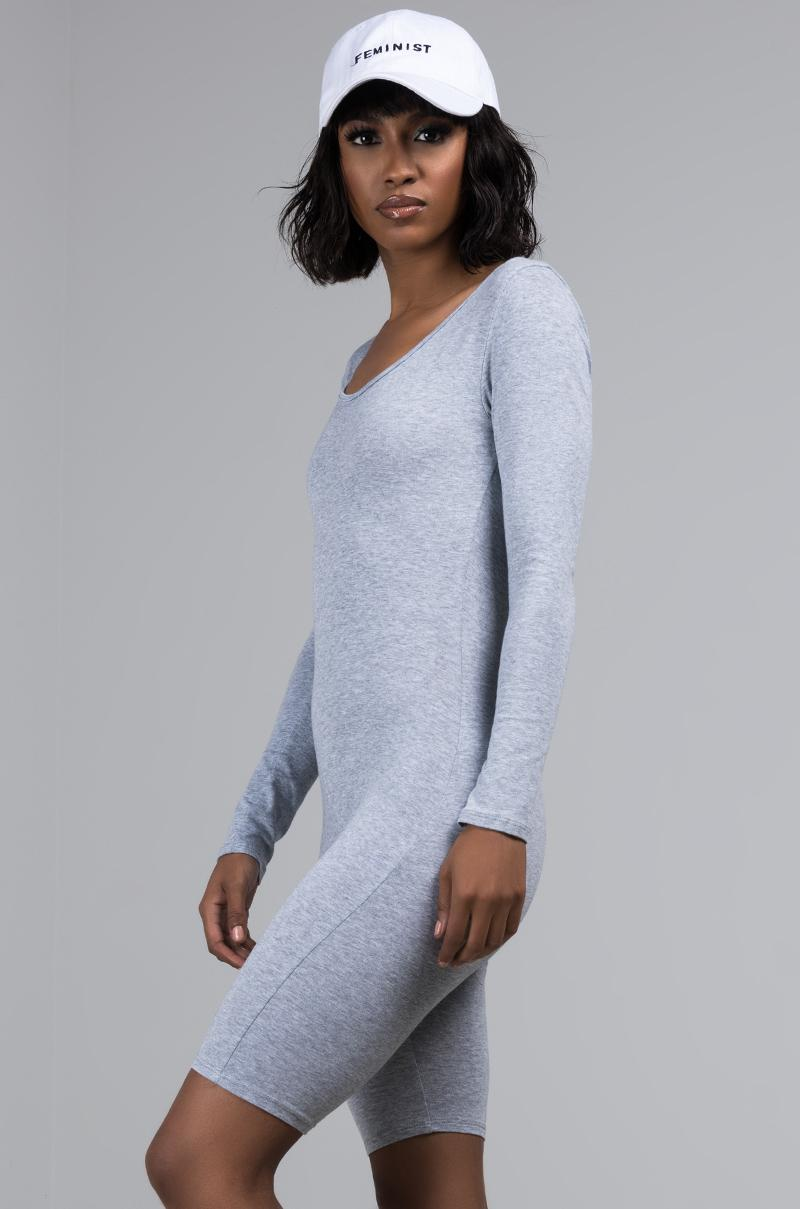 6fbbaa316f71 Lyst - Akira Dressed To Impress Long Sleeve Romper in Gray