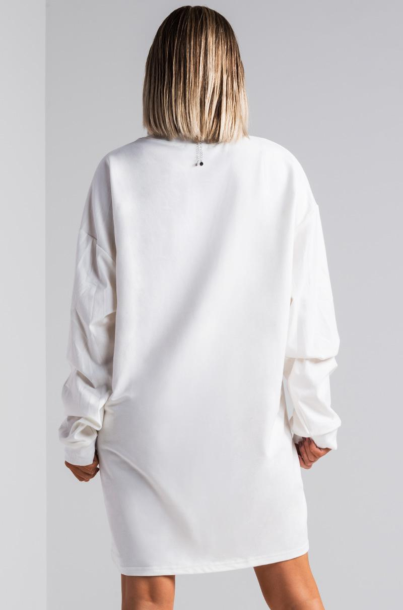 8aaaa3da673 AKIRA Eye Love You Oversized Sweater Dress in White - Lyst