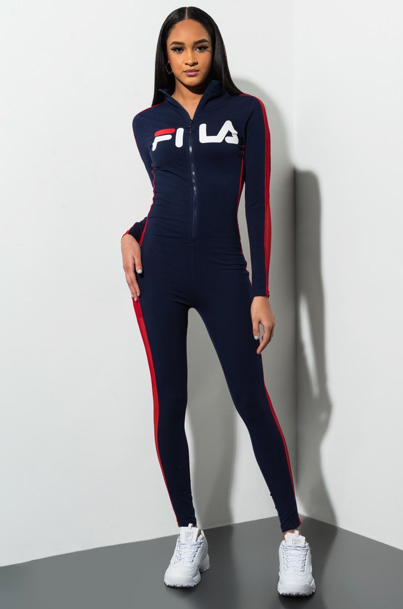 Fila Cotton Simona Unitard Jumpsuit in Blue - Lyst