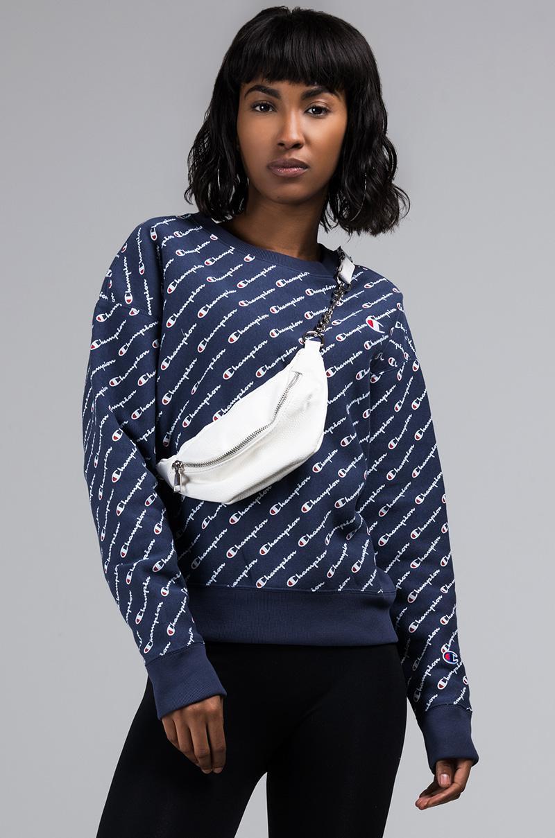 45977c37e12a Champion - Blue Reverse Weave Allover Script Print Crew Neck Sweatshirt -  Lyst. View fullscreen