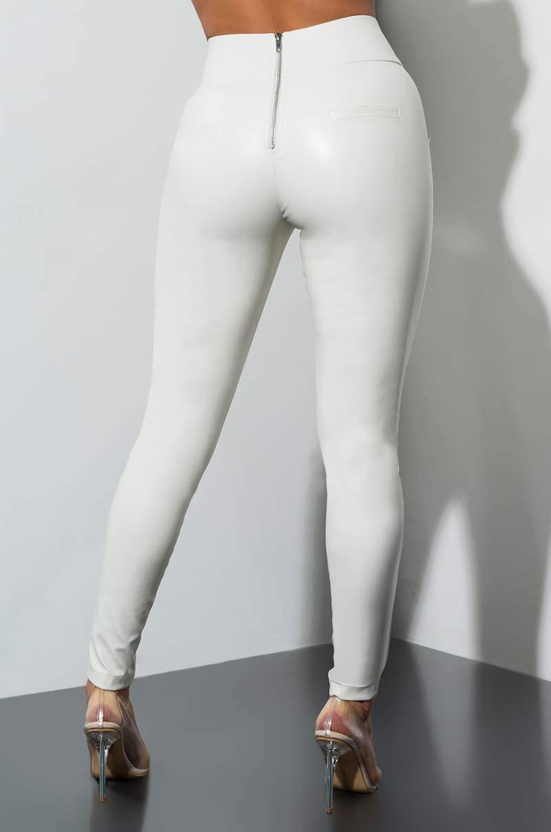 0585c0ceada631 AKIRA Big Booty Pleather LEGGINGS in White - Lyst