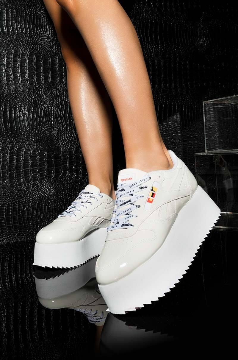 Reebok. Women s Gigi Hadid X Cl Leather Platform Sneaker In White Patent 995cbbdba