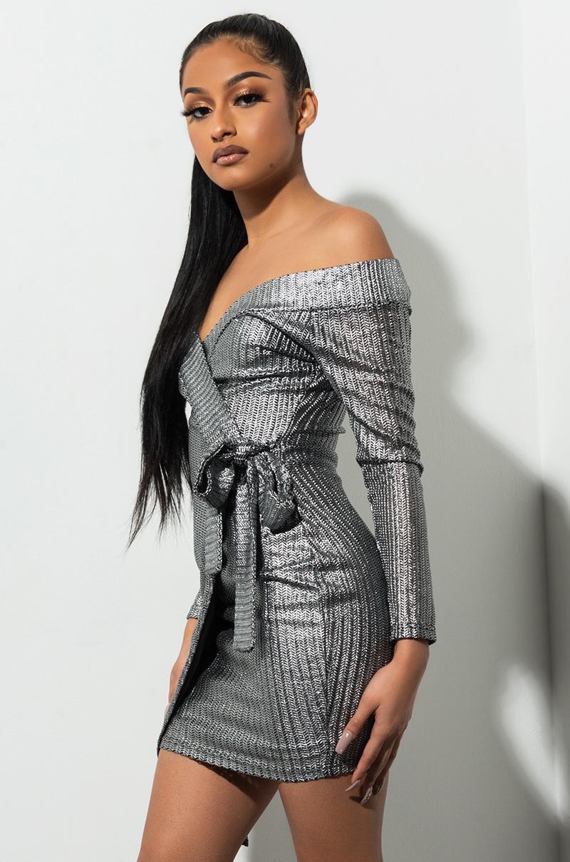 23efcae6ccd4 AKIRA Another Fabulous Day Off Shoulder Metallic Mini Dress in ...