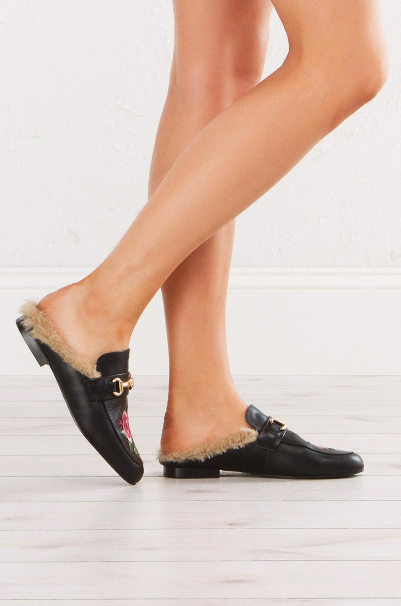 49c5ee86afd Akira Black Embroidered Fur Lined Jill Mule