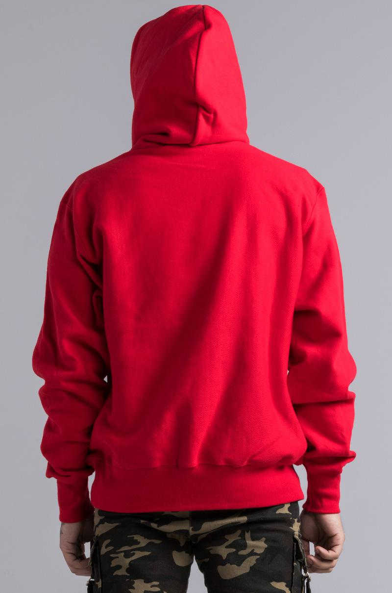 Champion Cotton Reverse Weave Varsity C Hoodie in Red for Men