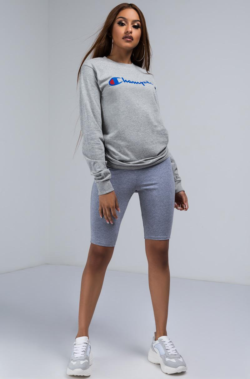 0a20559e Champion Script Long Sleeve Heritage Tee in Gray - Lyst