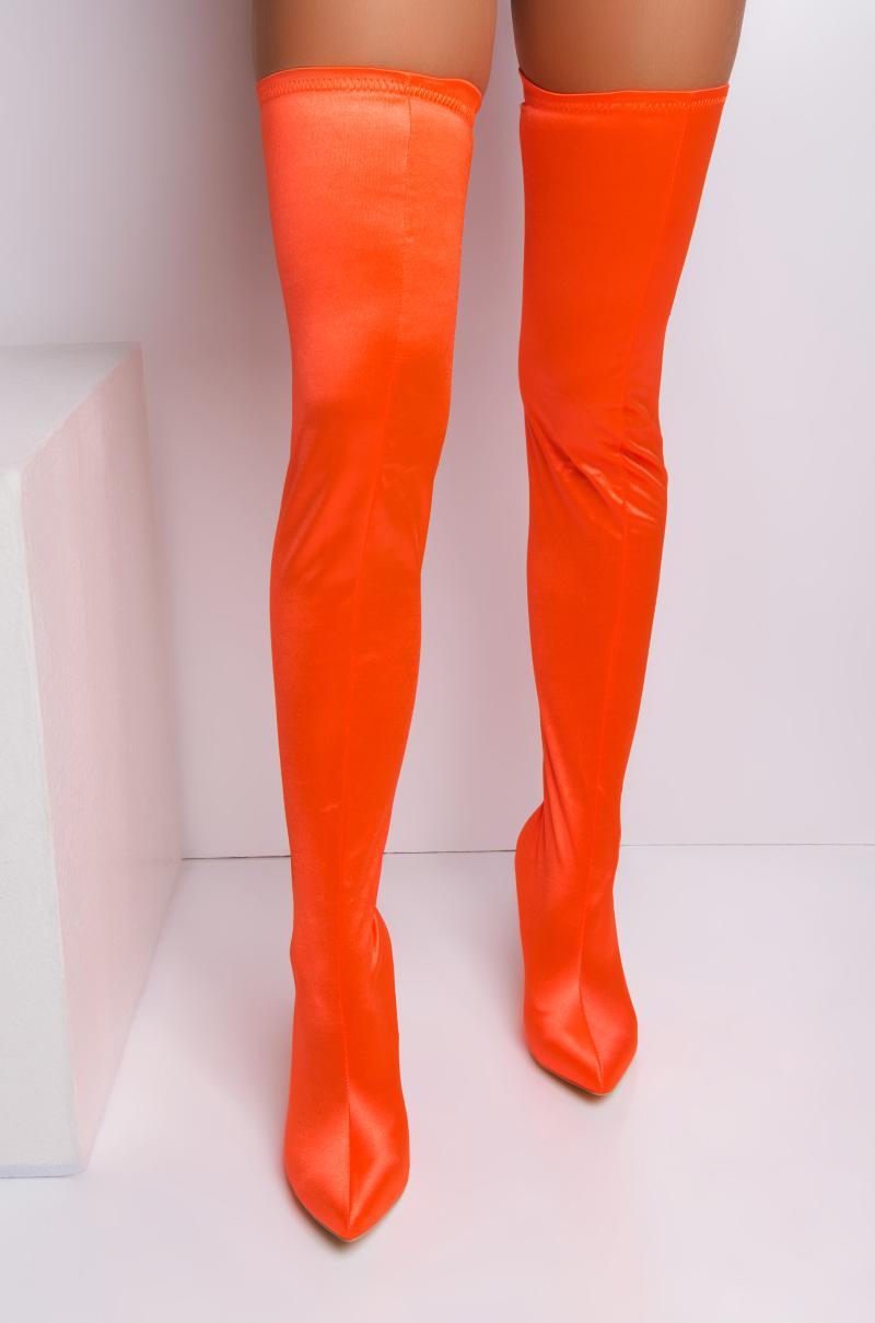 deb4b293acde AKIRA Bubblegum Thigh High Boots in Orange - Lyst