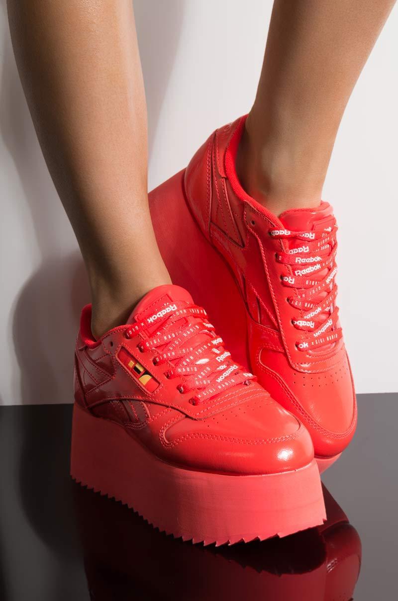 Reebok - Gigi Hadid X Cl Leather Platform Sneaker In Red Patent - Lyst.  View fullscreen 48ddf41b3