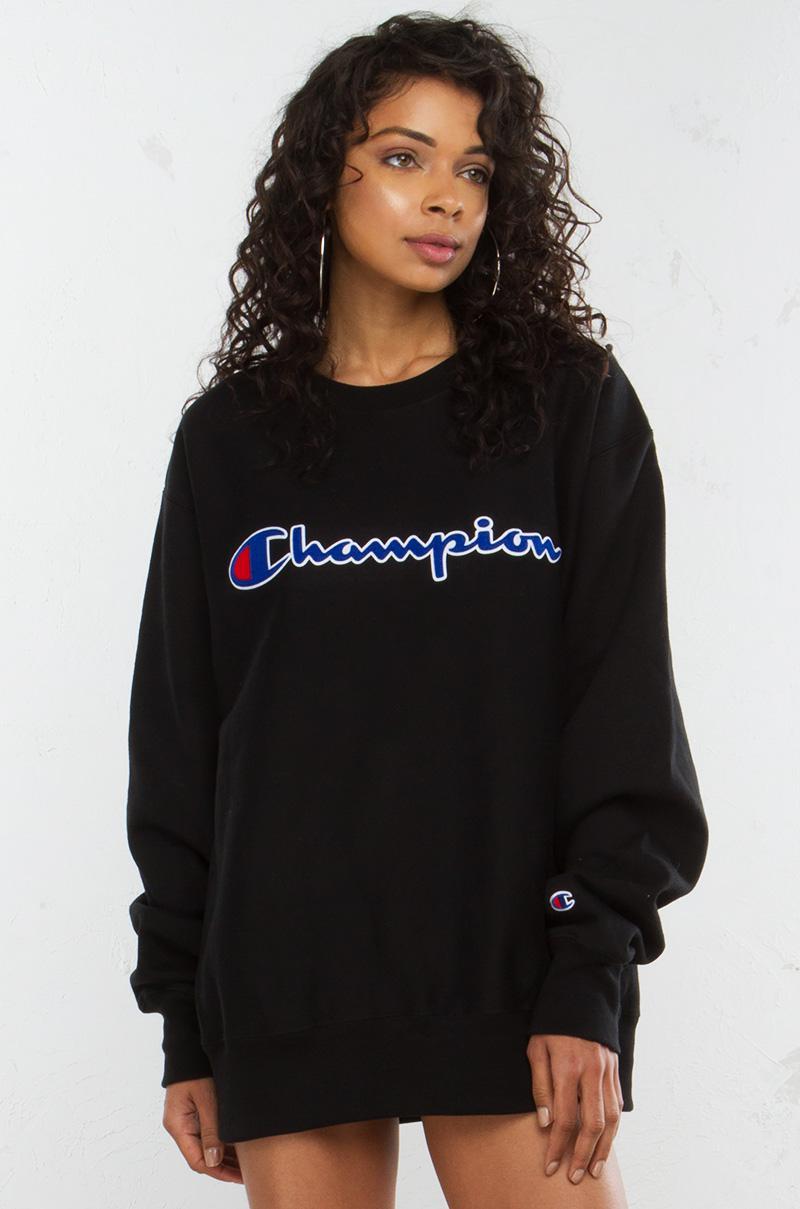 akira reverse weave crew sweatshirt in black  lyst